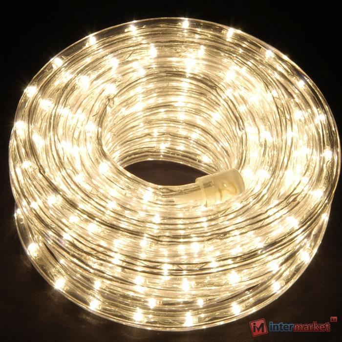 Гирлянда роуп лайт (дюралайт) 10м теплобелая дополнительная Ropelight d10мм 210диодов LED System 24 outdoor