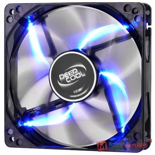 Кулер для кейса Deepcool WIND BLADE 120, Черный с голубой подсветкой